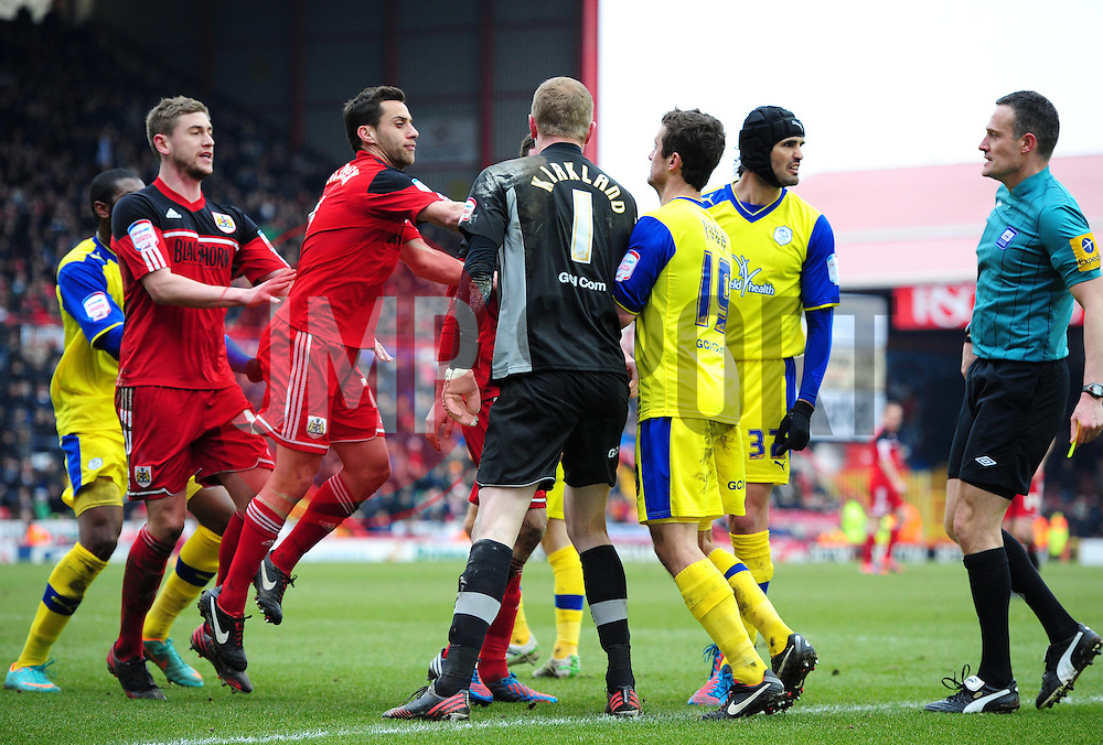 Bristol City's Greg Cunningham is in-sensed after being penalised for diving resulting in a confrontation between both sets of players  - Photo mandatory by-line: Joe Meredith/JMP - Tel: Mobile: 07966 386802 01/04/2013 - SPORT - FOOTBALL - Ashton Gate - Bristol -  Bristol City V Sheffield Wednesday - Npower Championship