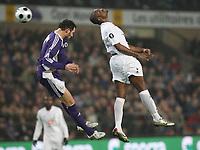 Photo: Maarten Straetemans/Sportsbeat Images.<br /> Anderlecht v Tottenham Hotspur. UEFA Cup. 06/12/2007.<br /> Van Damme with Darren Bent of Tottenham