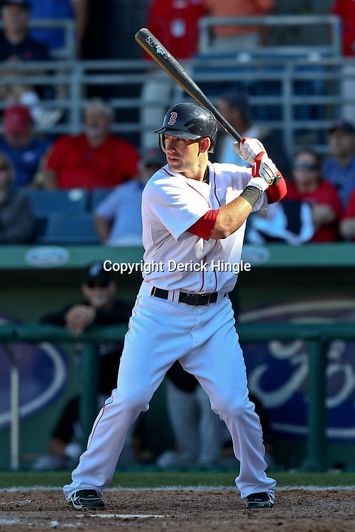March 12, 2011; Fort Myers, FL, USA; Boston Red Sox center fielder Ryan Kalish (55) during a spring training exhibition game against the Florida Marlins at City of Palms Park. The Red Sox defeated the Marlins 9-2.  Mandatory Credit: Derick E. Hingle