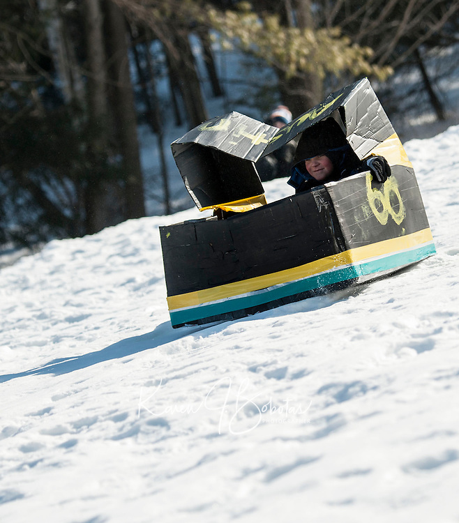 Gilford Parks and Recreation annual Cardboard Sled Derby at Gilford Outing Club.  Karen Bobotas/for the Laconia Daily Sun