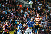 Mohamed Maouche competes with Daniel Devine in the air during the EFL Sky Bet League 2 match between Bradford City and Oldham Athletic at the Northern Commercials Stadium, Bradford, England on 17 August 2019.