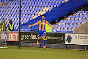 Nathaniel Knight-Percival celebrates 2-0 during the Sky Bet League 1 match between Shrewsbury Town and Rochdale at Greenhous Meadow, Shrewsbury, England on 1 March 2016. Photo by Daniel Youngs.