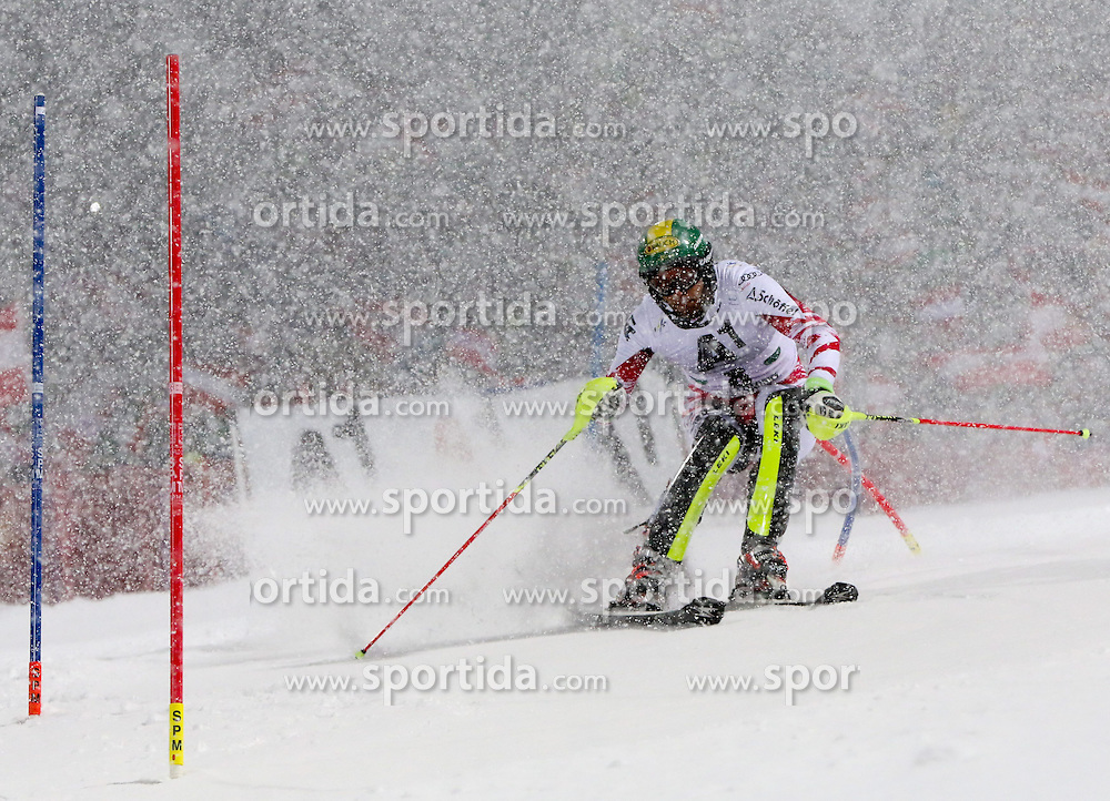 27.01.2015, Planai, Schladming, AUT, FIS Weltcup Ski Alpin, Nightrace, Slalom, Herren, 1. Durchgang, im Bild Mario Matt (AUT) // Mario Matt of Austria in action during 1st run of mens slalom of the Schladming FIS Ski Alpine World Cup at the Planai course in Schladming, Austria on 2015/01/27. EXPA Pictures © 2015, PhotoCredit: EXPA/ Martin Huber
