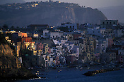 Chaiolella fishing village at dawn, Procida Island on Bay of Naples.
