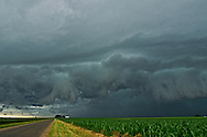A shelf cloud quickly approaches over a corn field near Lincoln, Illinois. It was fascinating watching the rapid motion of the leading edge as it got closer.<br /> <br /> Date Taken: June 25, 2013