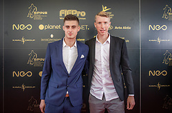 Anel Hajric and Ziga Lipuscek during SPINS XI Nogometna Gala 2019 event when presented best football players of Prva liga Telekom Slovenije in season 2018/19, on May 19, 2019 in Slovene National Theatre Opera and Ballet Ljubljana, Slovenia. ,Photo by Urban Meglic / Sportida