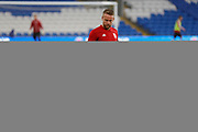 Wales defender Chris Gunter warming up during the Friendly match between Wales and Belarus at the Cardiff City Stadium, Cardiff, Wales on 9 September 2019.