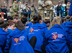 The 1,200 performers that will take part in the 2016 Royal Edinburgh Military Tattoo come together for the first time to rehearse.<br /> <br /> Pictured: Dancers from the Military Tattoo watch the rehearsal