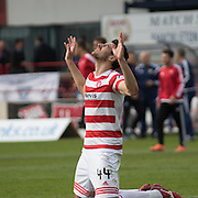 Hamilton&rsquo;s Lucas Tagliapietra gives thanks after his side guaranteed staying up - Dundee v Hamilton Academical, Ladbrokes Scottish Premiership at Dens Park<br /> <br /> <br />  - &copy; David Young - www.davidyoungphoto.co.uk - email: davidyoungphoto@gmail.com