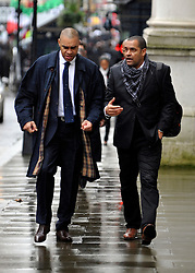 © Licensed to London News Pictures. 22/02/2012, London, UK. (L )Paul Elliott arrive at the summit. The UK Prime Minister holds a summit at Downing Street on racism in football. Photo credit : Stephen Simpson/LNP