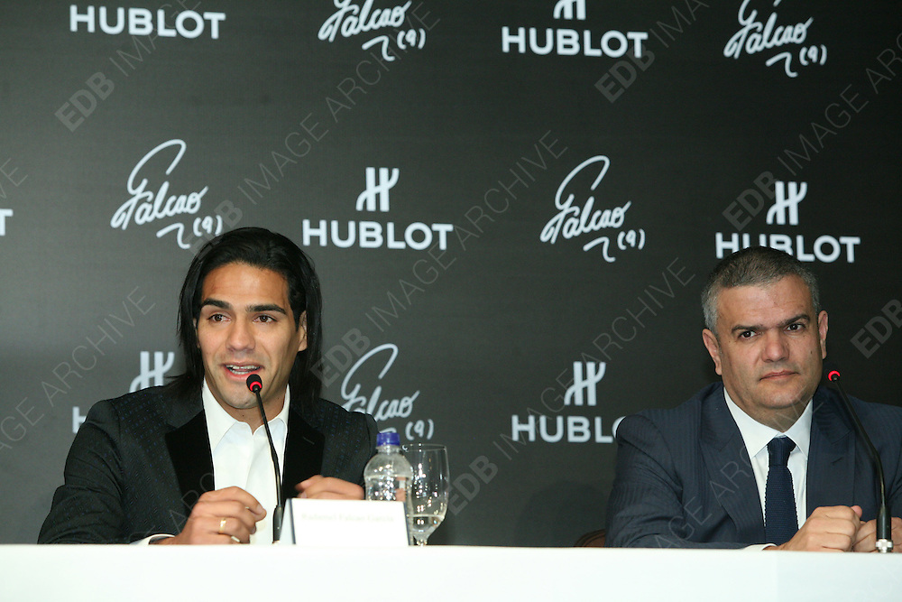 """13.JUNE.2013. BOGOTO<br /> <br /> THE NEW HUBLOT AMBASSADOR FOR COLOMBIA, RADAMEL FALCAO GARCÍA, TOGETHER WITH RICARDO GUADALUPE, CEO OF HUBLOT, HELD AN IMPORTANT EVENT IN BOGOTA PROVIDING FINANCIAL SUPPORT FOR UNODC TO CARRY OUT WORK IN THE CIÉNAGA GRANDE DE SANTA MARTA WETLANDS, THANKS TO THE SALE OF THE """"CLASSIC FUSION FALCAO"""" WATCH. FALCAO AND HUBLOT TEAMPS UP FOR AN IMPORTANT PROJECT THEY ARE SUPPORTING TOGETHER IN COLOMBIA WITH THE UNITED NATIONS OFFICE ON DRUGS AND CRIME<br /> <br /> BYLINE: EDBIMAGEARCHIVE.CO.UK<br /> <br /> *THIS IMAGE IS STRICTLY FOR UK NEWSPAPERS AND MAGAZINES ONLY*<br /> *FOR WORLD WIDE SALES AND WEB USE PLEASE CONTACT EDBIMAGEARCHIVE - 0208 954 5968*"""