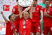 Bayern Munich's Dutch midfielder Arjen Robben, Bayern Munich's Brazilian defender Rafinha, 9 Robert Lewandowski,  6 Thiago Alc&middot;ntara, Alcantara, celebrate with he trophy  after the German First division Bundesliga football match FC Bayern Munich v Eintracht Frankfurt, <br /> MUNICH, 18. MAY 2019,  Fc BAYERN vs Eintracht FRANKFURT, 5:1 - Bundesliga Football Match, (L to R) Arjen Robben, Rafinha, Franck Ribery ,<br /> FcBayern Muenchen vs Eintracht FRANKFURT Bundesliga match at Allianz Arena on 18.05.2019, DFL REGULATIONS PROHIBIT ANY USE OF PHOTOGRAPHS AS IMAGE SEQUENCES AND/OR QUASI-VIDEO - fee liable image, <br /> copyright &copy; ATP / Arthur THILL