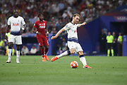 Christian Eriksen of Tottenham Hotspur shots the ball during the Champions League Final match between Tottenham Hotspur and Liverpool at Tottenham Hotspur Stadium, London, United Kingdom on 1 June 2019.
