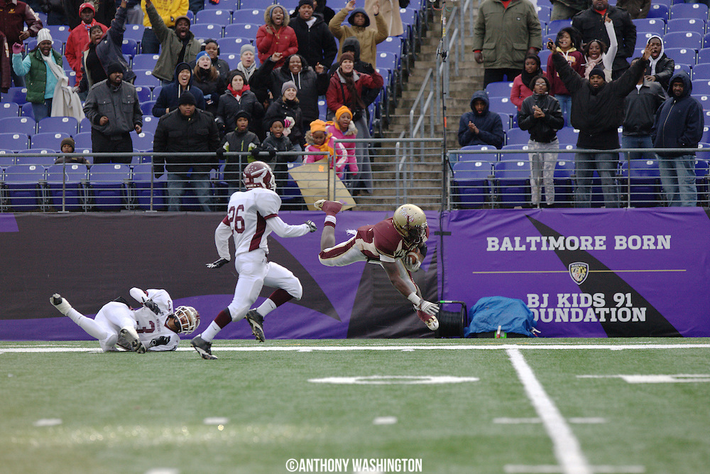 Dunbar High School tight end Travon Garrett dives for the goal line during the class 1A MPSSAA 2010 State Football Championship game at M&T Bank Stadium in Baltimore, MD on Saturday, December 4, 2010.