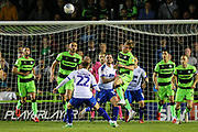 Forest Green Rovers George Williams(11) heads the ball clear during the EFL Sky Bet League 2 second leg Play Off match between Forest Green Rovers and Tranmere Rovers at the New Lawn, Forest Green, United Kingdom on 13 May 2019.