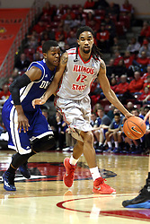 07 January 2015:  C.J. Rivers  leans in hard on Tony Wills during an NCAA MVC (Missouri Valley Conference) men's basketball game between the Drake Bulldogs and the Illinois State Redbirds at Redbird Arena in Normal Illinois.  Illinois State comes out victorious 81-45.