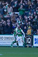 4th November 2017, Easter Road, Edinburgh, Scotland; Scottish Premiership football, Hibernian versus Dundee; Hibernian's Martin Boyle celebrates after scoring for 1-0