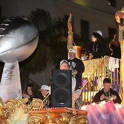 Feb 09, 2010; New Orleans, LA, USA; A float passes during the Super Bowl celebration parade for the New Orleans Saints 31-17 victory over the Indianapolis Colts in Super Bowl XLIV as the parade passed through the downtown streets of New Orleans, Louisiana.  Mandatory Credit: Derick E. Hingle-US-PRESSWIRE.