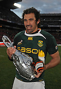 Victor Matfield of the Springboks with the 2009 Lions Series Trophy.<br /> Rugby - 090704 - Springboks vs British&Irish Lions - Coca-Cola Park - Johannesburg - South Africa. The Lions won the third test 28-9 but lost the series 2-1 to the Springboks.<br /> Photographer : Anton de Villiers / SASPA