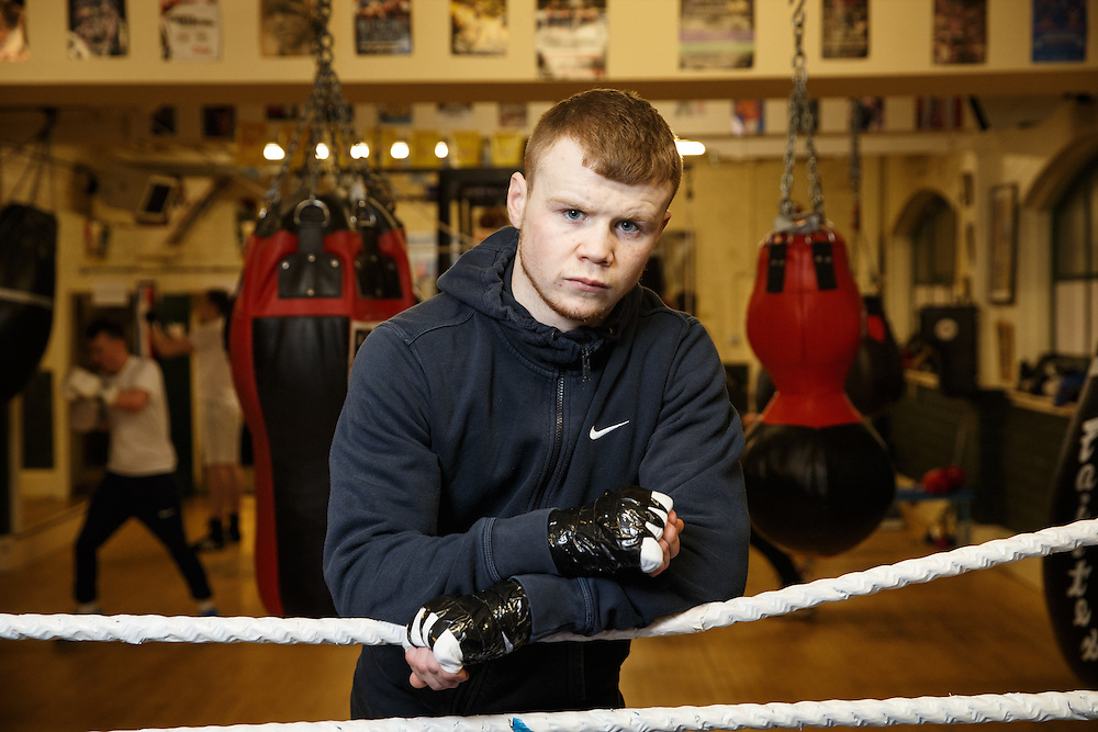 Boxer Charlie Flynn in the Phoenix Gym in the east end of Glasgow. Picture Robert Perry for The Herald and Evening Times 15th Feb 2016<br /> Must credit photo to Robert Perry<br /> <br /> FEE PAYABLE FOR REPRO USE<br /> FEE PAYABLE FOR ALL INTERNET USE<br /> www.robertperry.co.uk<br /> NB -This image is not to be distributed without the prior consent of the copyright holder.<br /> in using this image you agree to abide by terms and conditions as stated in this caption.<br /> All monies payable to Robert Perry<br /> <br /> (PLEASE DO NOT REMOVE THIS CAPTION)<br /> This image is intended for Editorial use (e.g. news). Any commercial or promotional use requires additional clearance. <br /> Copyright 2016 All rights protected.<br /> first use only<br /> contact details<br /> Robert Perry     <br /> 07702 631 477<br /> robertperryphotos@gmail.com<br />         <br /> Robert Perry reserves the right to pursue unauthorised use of this image . If you violate my intellectual property you may be liable for  damages, loss of income, and profits you derive from the use of this image.