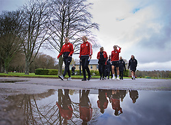 CARDIFF, WALES - Thursday, April 4, 2019: Wales' L-R goalkeeper Laura O'Sullivan, Cori Williams, Kayleigh Green and Gemma Evans during a pre-match team walk at the Vale Resort ahead of an International Friendly match between Wales and Czech Republic at Rodney Parade. (Pic by David Rawcliffe/Propaganda)