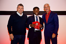 NEWPORT, WALES - Saturday, May 19, 2018: Tivonge Rusheada is presented with his cap by Osian Roberts (left) and Ian Rush (right) during the Football Association of Wales Under-16's Caps Presentation at the Celtic Manor Resort. (Pic by David Rawcliffe/Propaganda)