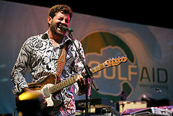 16 May 2010. New Orleans, Louisiana. <br /> Gulf Aid - a benefit festival for Louisiana fishermen and our coast.<br /> The Voice of the Wetlands Allstars. Tab Benoit. Local musicians have gathered together in response to BP's massive oil spill in the Gulf of Mexico, threatening the very fabric of an entire region. All proceeds from the event will be used to support local fishing communities and the region.<br /> Photo credit;Charlie Varley/varleypix.com