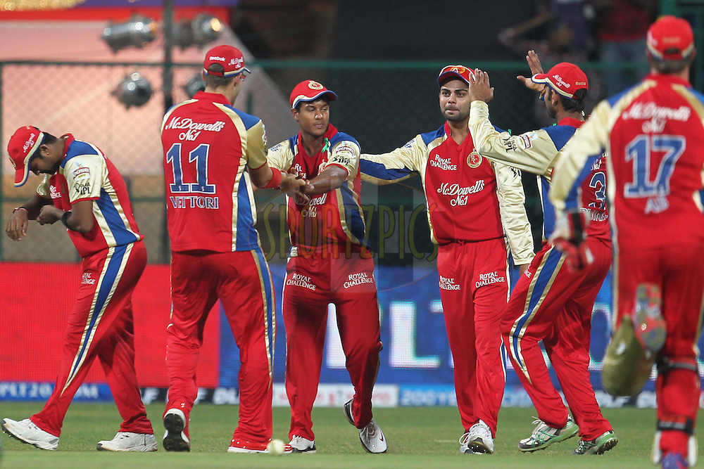 Mayank Agarawal and Virat Kohali celebrates wicket of Venugopal Rao during match 5 of the the Indian Premier League ( IPL) 2012  between The Royal Challengers Bangalore and the Delhi Daredevils  held at the M. Chinnaswamy Stadium, Bengaluru on the 7th April 2012..Photo by Prashant Bhoot/IPL/SPORTZPICS