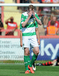 Dejection for Yeovil Town's Marc Laird - Photo mandatory by-line: Harry Trump/JMP - Mobile: 07966 386802 - 08/08/15 - SPORT - FOOTBALL - Sky Bet League Two - Exeter City v Yeovil Town - St James Park, Exeter, England.