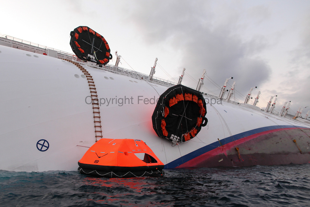 Rescue boats on the Costa Concordia cruise ship