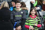 FGR supporters during the EFL Sky Bet League 2 match between Forest Green Rovers and Exeter City at the New Lawn, Forest Green, United Kingdom on 1 January 2020.