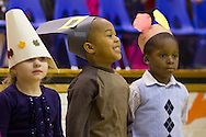 "Middletown, New York - Preschool students perform in the ""YMCA Thanksgiving Day Spectacular"" on the stage of the Center for Youth Programs on Nov. 27, 2013."