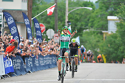 EDUARD PRADES of Spain, with team Caja Rural-Seguros, leads the sprint atop of Manayunk Wall to a win in the 2016 Philadelphia Cycling Classic UCI 1.1 Men's America Tour  on Sunday June 5th 2016, in Philadelphia Pennsylvania.