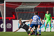Erin Cuthbert (Chelsea) with Kate Natkiel (Brighton) & Lea Le Garrec (Brighton) during the FA Women's Super League match between Brighton and Hove Albion Women and Chelsea at The People's Pension Stadium, Crawley, England on 15 September 2019.