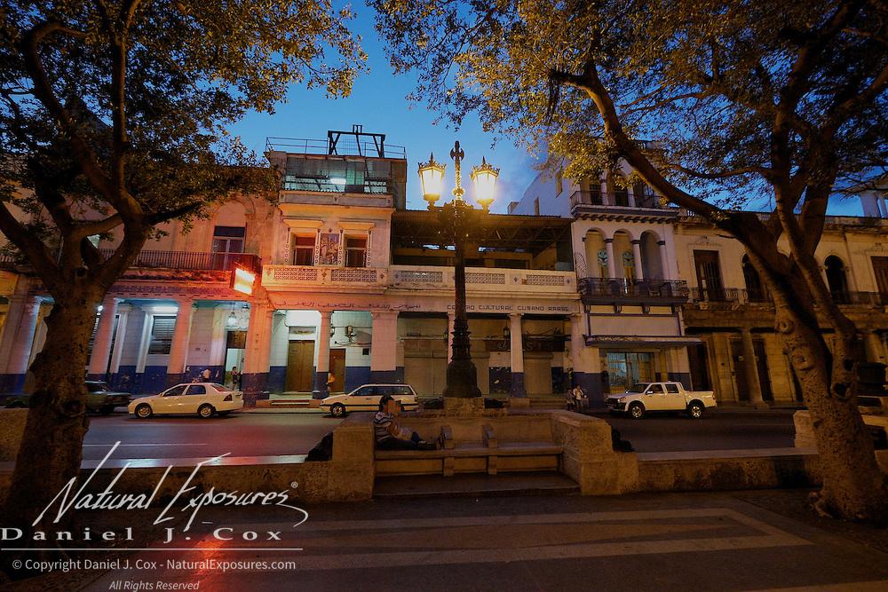 The streets of Havana, Cuba  Early evening on the  Paseo del Prado Centro Habana and Old Havana, Cuba.