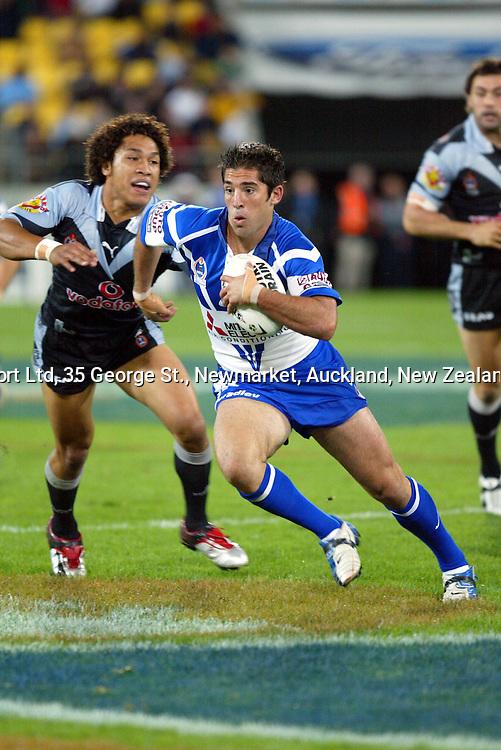 16 April 2004, NRL Round 6, Canterbury Bulldogs vs New Zealand Warriors, Westpac Stadium, Wellington, New Zealand.<br />Braith Anasta. The Bulldogs won 24-18.<br />Please credit: Sandra Teddy/Photosport