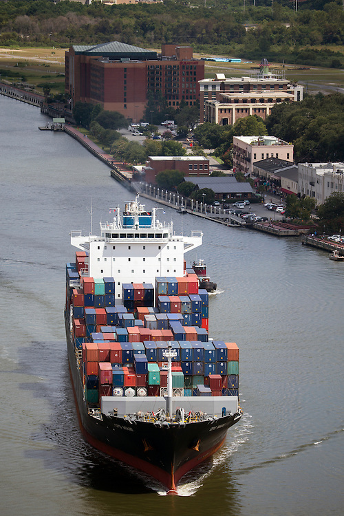 Ship to shore cranes work at the Georgia Ports Authority Garden City Terminal, Friday, Aug. 21 2015, in Savannah, Ga.  (GPA Photo/Stephen B. Morton)