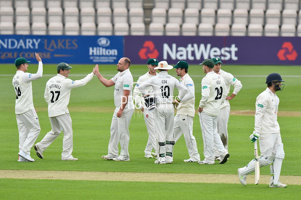 Wicket - Joe Leach of Worcestershire celebrates taking the wicket of Rilee Rossouw of Hampshire during the Specsavers County Champ Div 1 match between Hampshire County Cricket Club and Worcestershire County Cricket Club at the Ageas Bowl, Southampton, United Kingdom on 13 April 2018. Picture by Graham Hunt.