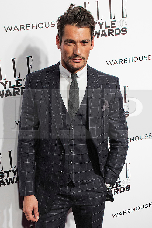 © Licensed to London News Pictures. 18/02/2014. London, UK. David Gandy arrives on the red carpet for the Elle Style Awards on the Embankment in central London. Photo credit : Andrea Baldo/LNP
