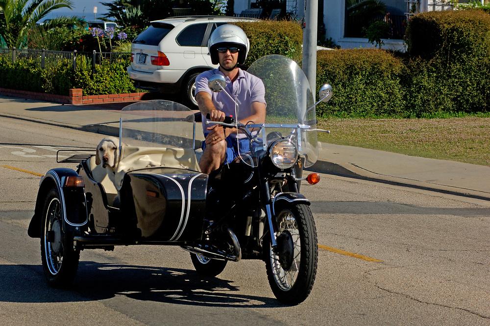 Motorcycle with sidecar, Santa Cruz, California, United States of America