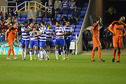 Reading celebrate their fifth goal during the Sky Bet Championship match between Reading and Ipswich Town at the Madejski Stadium, Reading, England on 11 September 2015. Photo by Mark Davies.