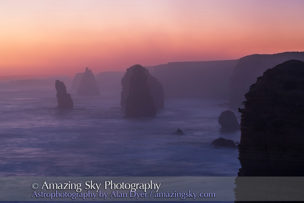 Evening silhouettes of the Twelve Apostle sea stacks after sunset in the twilight.<br /> <br /> This is a single frame and exposure with the 85mm Rokinon lens.
