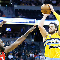 18 November 2016: Denver Nuggets forward Danilo Gallinari (8) takes a jump shot over Toronto Raptors forward Patrick Patterson (54) during the Toronto Raptors 113-111 OT victory over the Denver Nuggets, at the Pepsi Center, Denver, Colorado, USA.