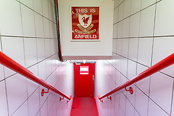 14.04.2016, Anfield Road, Liverpool, ENG, UEFA EL, FC Liverpool vs Borussia Dortmund, Viertelfinale, Rueckspiel, im Bild Eingang in den Innenraum des Stadions in der Anfield Road mit dem Schriftzug &quot;This is Anfield&quot; // during the UEFA Europa League Quaterfinal, 2nd Leg match between FC Liverpool vs Borussia Dortmund at the Anfield Road in Liverpool, Great Britain on 2016/04/14. EXPA Pictures &copy; 2016, PhotoCredit: EXPA/ Eibner-Pressefoto/ Schueler<br /> <br /> *****ATTENTION - OUT of GER*****