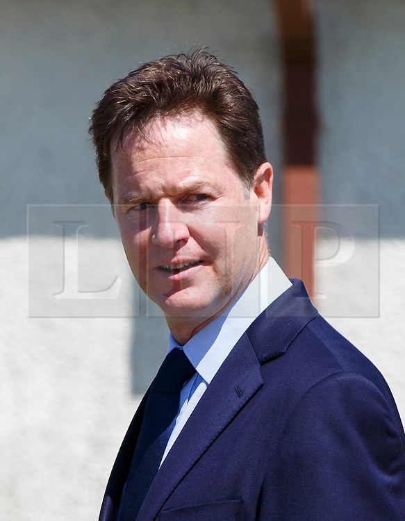 © Licensed to London News Pictures. 12/06/2015. Fort William, UK. NICK CLEGG attending the funeral of ex-Liberal Democrat leader Charles Kennedy at St John's Church in Caol, near his Fort William home in Scotland on Friday, June 12, 2015. Mr Kennedy died suddenly on June 1, 2015 at the age of 55 after suffering a major haemorrhage as a result of a long battle with alcoholism. Photo credit: Tolga Akmen/LNP
