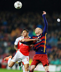 Jeremy Mathieu of Barcelona challenges Alexis Sanchez of Arsenal  - Mandatory byline: Matt McNulty/JMP - 16/03/2016 - FOOTBALL - Nou Camp - Barcelona,  - FC Barcelona v Arsenal - Champions League - Round of 16