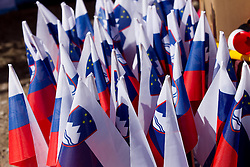Slovenian flags during Flying Hill Team competition at 3rd day of FIS Ski Jumping World Cup Finals Planica 2012, on March 17, 2012, Planica, Slovenia. (Photo by Vid Ponikvar / Sportida.com)