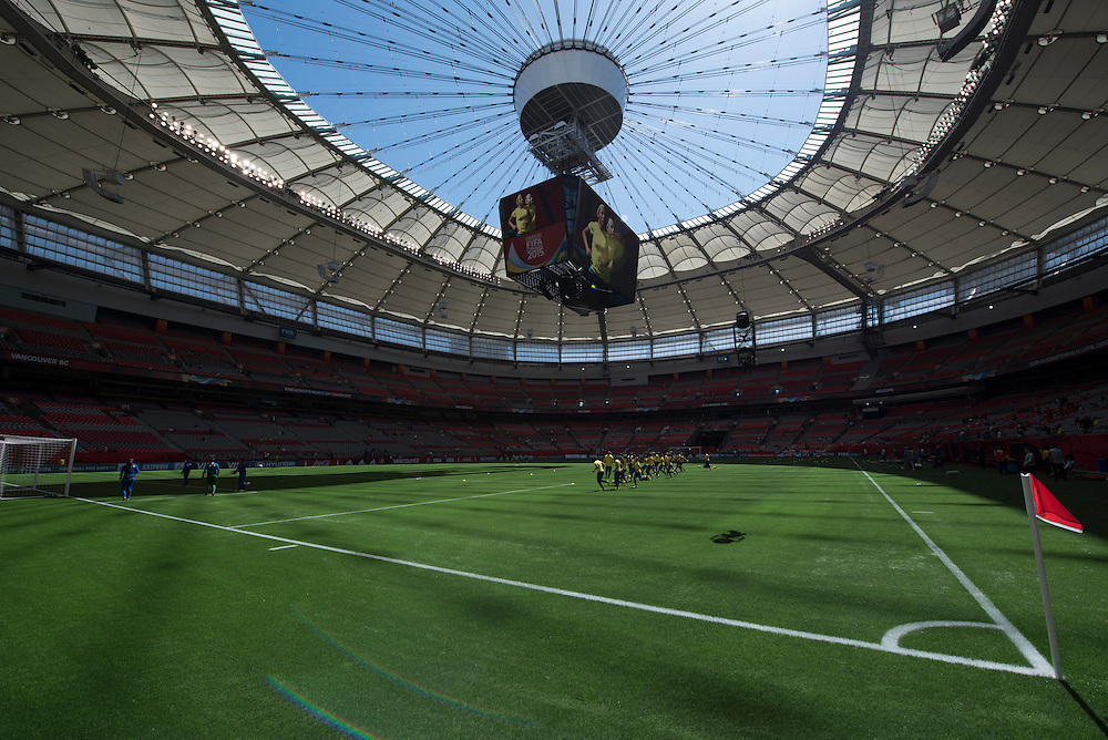 Ecuador's national team warms up before their game against Switzerland at BC Place Stadium in 2015 women's World Cup Soccer in Vancouver during the first round action between Japan and Cameroon.