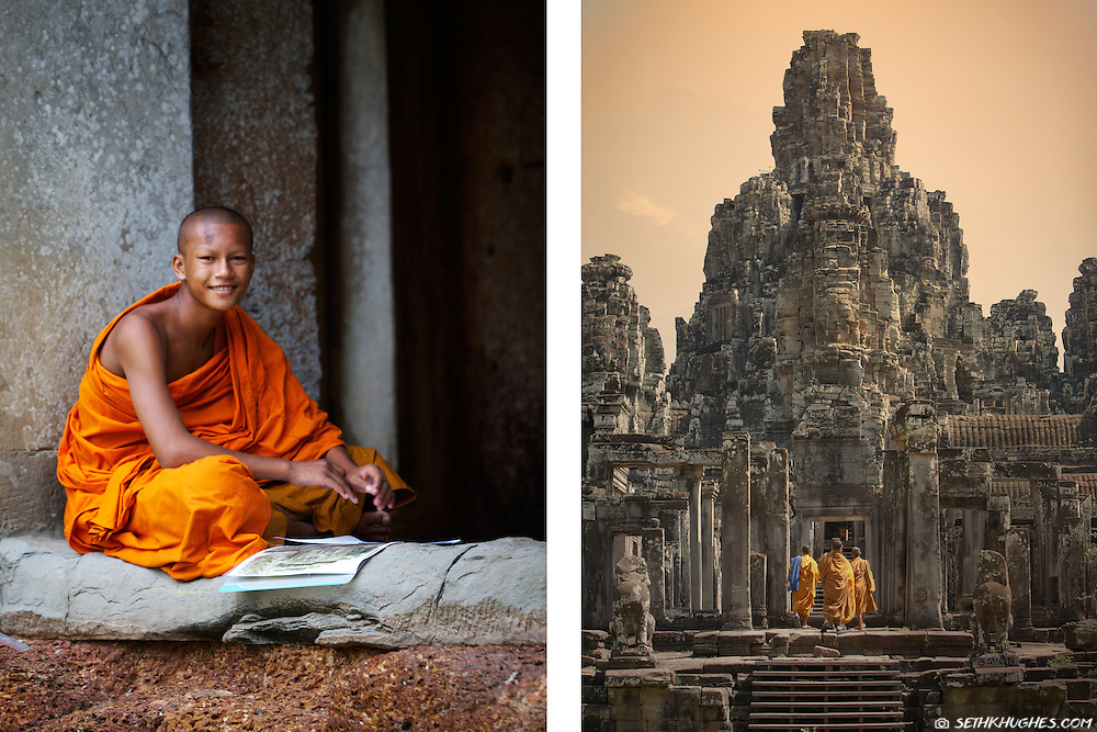 A novice monk in the temple complex of Angkor Wat, Cambodia.
