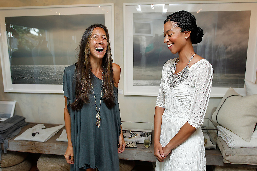 SAG HARBOR, NY - JULY 24:  Host Gabby De Felice (L) and Singer-songwriter Vanessa Jacquemin attend the cocktail party for the launch of Aurelie Bidermann's Capsule Collection at Urban Zen on July 24, 2010 in Sag Harbor, New York.  (Photo by Joe Kohen/Getty Images for Aurelie)